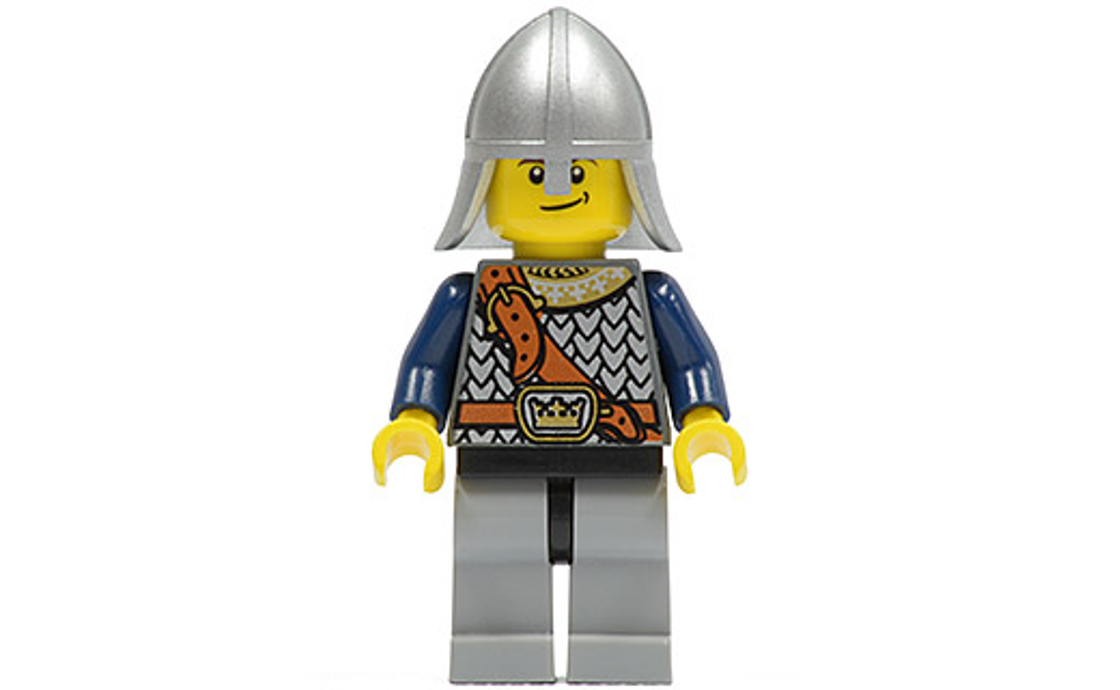 LEGO Castle Fantasy Era - Crown Knight Scale Mail with Chest Strap, Helmet with Neck Protector, Crooked Smile (cas417)