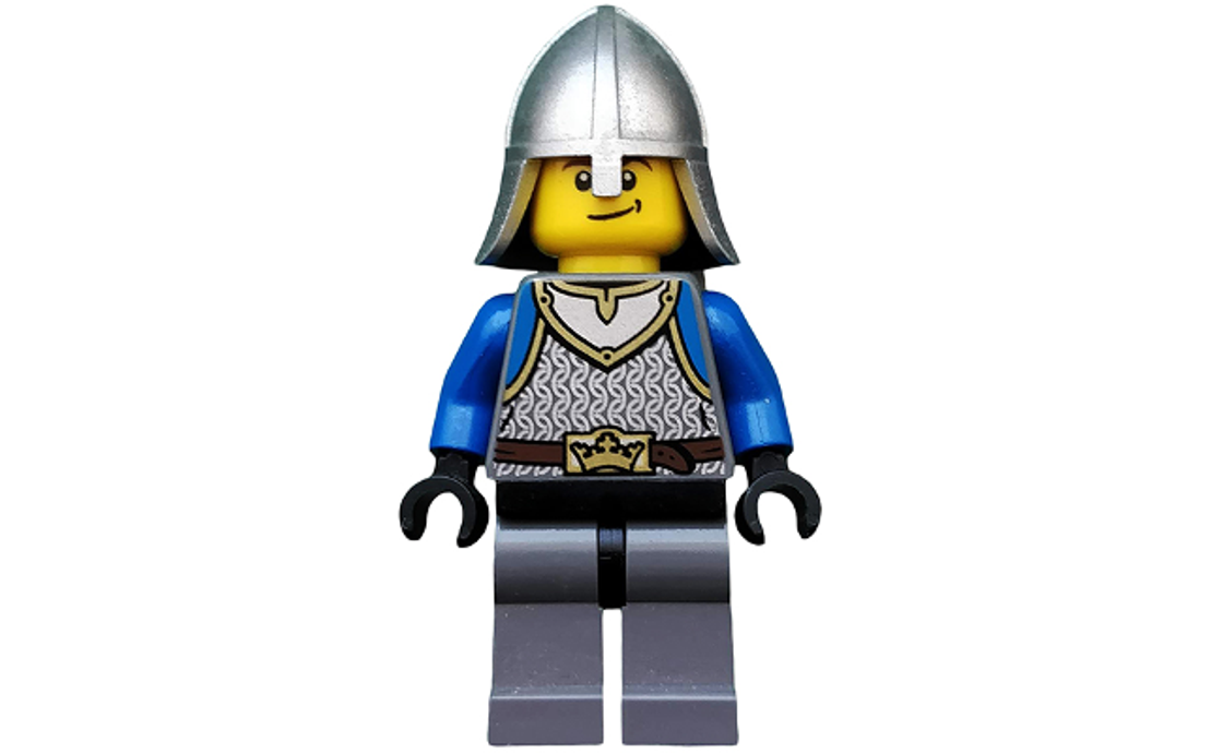 LEGO Castle - Kings Knight Scale Mail, Crown Belt, Helmet with Neck Protector, Smirk (cas536)
